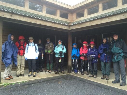 Big group on a rainy day at Minnewaska