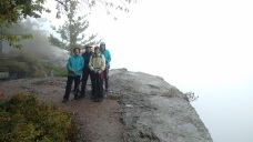 A great hike, but NO views on a rainy Saturday from the usually magnificent Escarpment Trail in the Catskills.